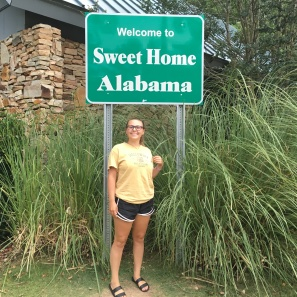 Day 1 July 9th 2016 Alabama State Sign Becca Posing