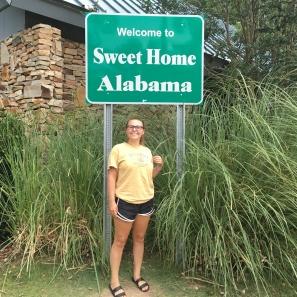 Day 1 July 9th 2016 Alabama State Sign Becca Posing