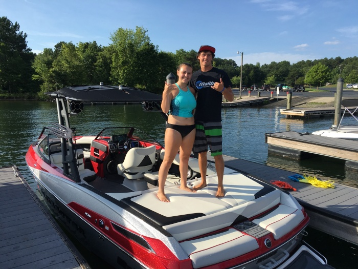 Day 1 JUly 9th 2016 Lake Norman blyth landing north carolina becca with boat driver and wakeboard expert tanner lawson